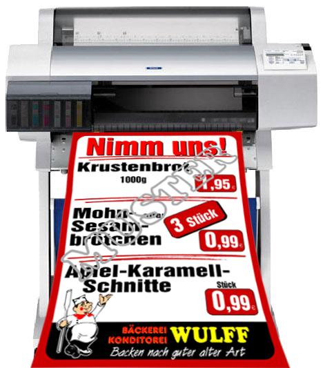 Drucker mit Plakat