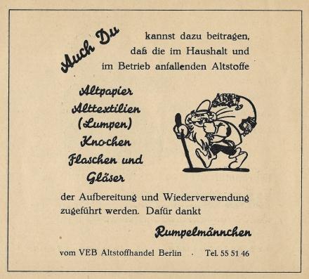 Anzeige VEB Altstoffhandel Berlin